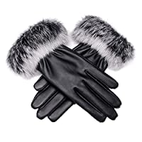 Women Winter Touch Screen PU Leather Gloves - WITERY Thick Warm Fleece Windproof Gloves Cold Proof Thermal Mittens - Ideal for Dressing / Driving / Cycling / Motorcycle / Camping