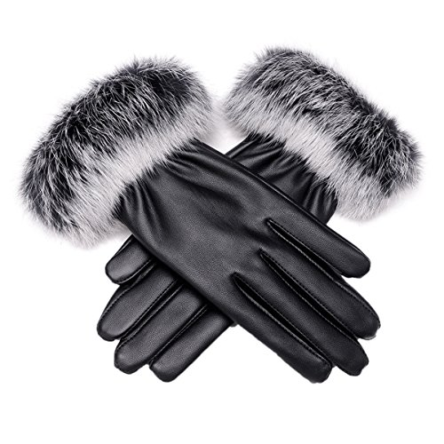 Women Winter Touch Screen PU Leather Gloves - WITERY Thick Warm Fleece Windproof Gloves Cold Proof Rabbit Fur Thermal Mittens Gloves - Ideal for Dress / Driving / Cycling / Hiking / Camping (Easy Halloween Finger Foods)