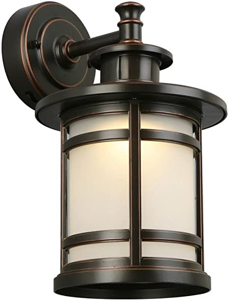 Home Decorators Collection Oil Rubbed Bronze Motion Sensor Outdoor Integrated Led Medium Wall Mount Lantern Wall Lights Amazon Canada