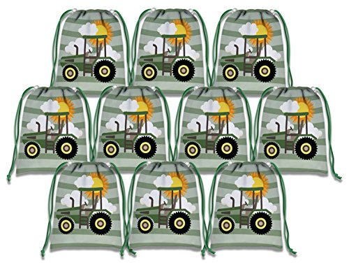Farm Green Tractor Time Drawstring Bags Kids Birthday Party Supplies Favor Bags 10 Pack (Tractor Supply)