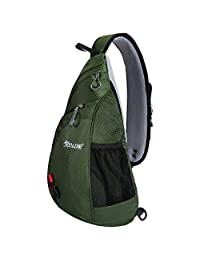 ICOLOR Unisex CrossBody Shoulder Sling Bag Travel Backpack Chest Bag for Men Women, Camping Hiking Cycling Bicycling Lightweight Daypack with Adjustable Shoulder Strap, Boys Girls School Backpacks
