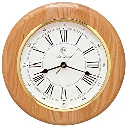 Seth Thomas Berkshire White Dial Stained Natural Oak Case with Quartz Wall Clock