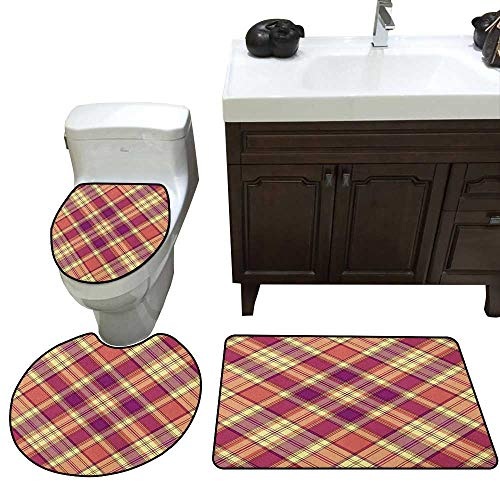 Checkered Bathroom Rug Set Retro Style Display with Vintage Scottish Celtic Striped Pattern bathmat Toilet mat Set Purple Coral Pale Yellow