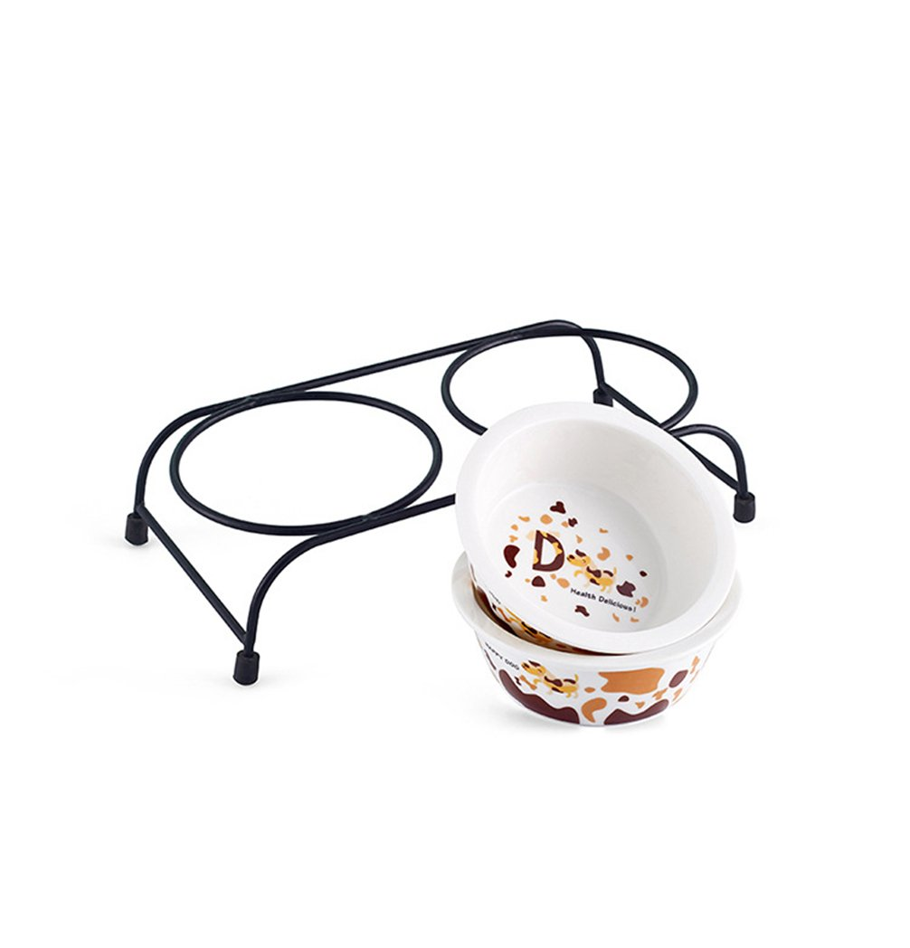 Be Good Pet Double Diner Feeder with Sturdy Non-Skid Elevated Iron Stand Wear-Resistant Dog Water Food Ceramic Double Bowls Set Perfect for Cat Dogs Puppies S by Be Good (Image #3)
