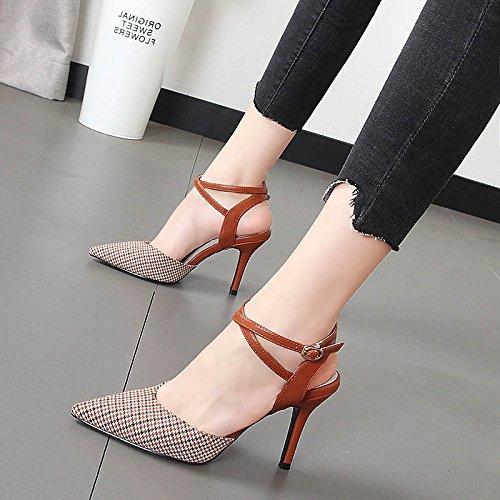 transversales con sandalias Vino sandalias Xue mujer claros Baotou con tacón tiras colores Qiqi punta las rojo de fina zapatos de qYYw6C