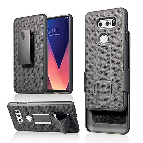 Golden Sheeps Case Compatible for LG G8 ThinQ,LG G8 Belt Clip Holster Cover Shell Kickstand Criss Cross Black New Plaid Design