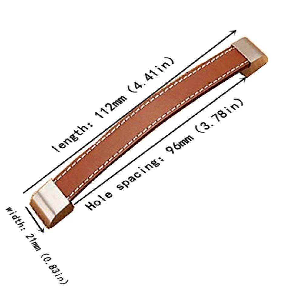 Frolahouse 8x Retro handgemachte Braun PU-Leder-Moderne Art M/öbelgriffe Bogengriffe M/öbelkn/öpfe M/öbelkn/äufe T/ürgriff-Sets M/öbelknopf M/öbelgriff Schrankgriffe