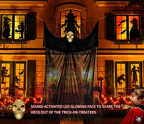 13ft Halloween Hanging Ghost Decorations, special sound effects, Collocation Scary Fake Spiders and Stretch Cbowebs, Creepy Skeleton LED Hanging Props for Halloween Party Indoor and Outdoor Decor