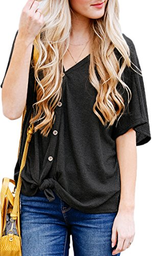 NENONA Womens Casual Short Sleeve Knitted Button Down Loose Tops Blouse T Shirt with Front Tie