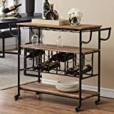 HOMYSHOPY Industrial Bar Cart with Wine Rack and