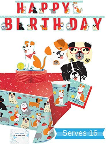 (Dog Party Supplies and Decorations - Dog Plates Cups Napkins for 16 People - Includes Banner, Tablecloth and Centerpiece - Perfect Dog Birthday Party Decorations!)