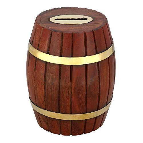 Handcrafted Indian Wooden Barrel Money Bank for Kids - Brass Accents and Coin Slot - Measures 5.5 Inches