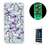 For Huawei P8 Lite Case,Funyye Creative Unique Fashion [Night Luminous] Effect Fluorescent Glow Ultra Slim Soft Silicone Gel TPU Cover for Huawei P8 Lite (2017 Model)-Horse