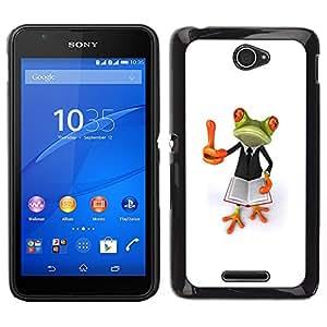 Sony Xperia E4 Único Patrón Plástico Duro Fundas Cover Cubre Hard Case Cover - Smart Book Teach White Frog