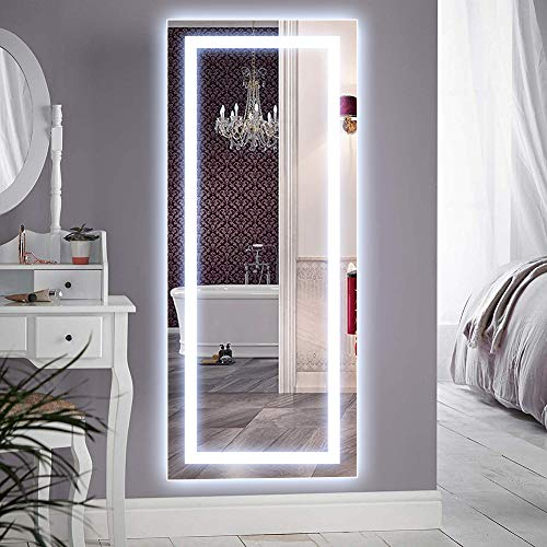 QiMH Vertical 47x22 Inch Wall Mounted LED Lighted Vanity Mirror with Aluminum Frame Backlit, Bedroom and Bathroom Hanging Rectangle Whole Body Mirror (Leaning Mirror Large Wall)