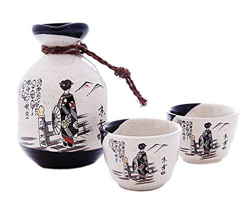 JAPANESE SAKE SETS BOTTLE and 2PCS SAKE CUPS (KIMONO GIRL)