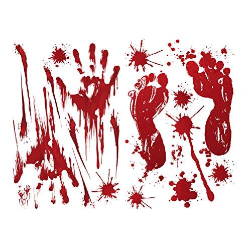 BESTOYARD 2 Pcs Red Graphic Bloody Sticker Splatter Fingerprints Footprints for Halloween Costume Decor Decal Sticker (Blood Handprint + Footprint) -