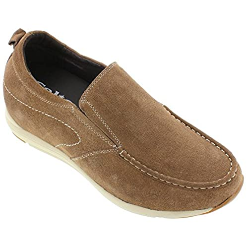 CALTO - G4904-2.8 Inches Taller - Height Increasing Elevator Shoes-Brown Slip-on Casual Shoes