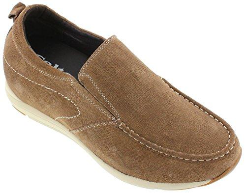 calto–g4904–8,1cm Grande Taille–Hauteur Augmenter Ascenseur shoes-brown Chaussures à enfiler décontracté pour homme