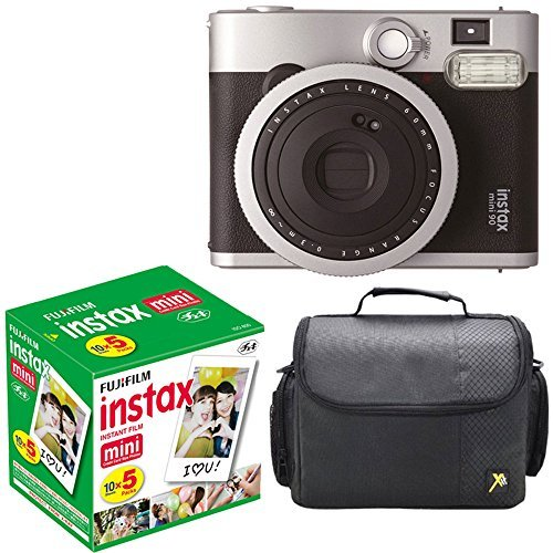 Fujifilm Instax Mini 90 Neo Classic Instant Film Camera With Fujifilm Instax Mini Instant Film, 10 Sheets x 5 packs + Case Deluxe Bundle by Fujifilm