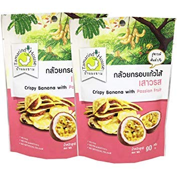 Tamarind House Crispy Banana with Passion Fruit 90 g. (Pack of 2)