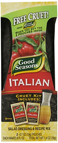 Good Seasons Salad Dressing & Recipe Kit, Cruet with 2 Count Italian Dressing Mix (Pack of 6)