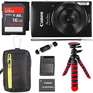 Canon PowerShot ELPH 190 Digital Camera 10x Optical Zoom IS Wi-Fi NFC Enabled (Black), SanDisk Ultra 16GB, Camera Case and Premium Accessory Bundle