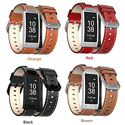 wonlex Fitness Tracker with Heart Rate and Blood Pressure Monitor, Unisex Waterproof Color Display Screen Smart Fitness Watch with Cowhide Leather Band