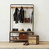 Industrial Pipe Clothing Rack Pine Wood Shelving shoes rack cloth hanger pipe shelf
