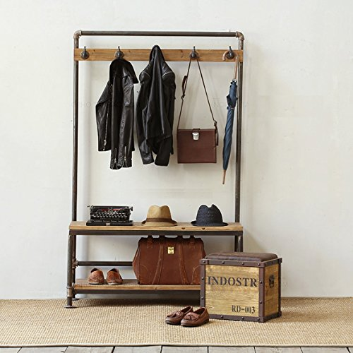 Industrial Pipe Clothing Rack Pine Wood Shelving shoes rack cloth hanger pipe shelf by Diwhy