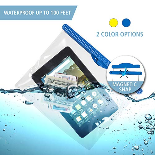 Lewis N. Clark Waterseals Magnetic Self-Sealing Waterproof Pouch + Dry Bag for Cell Phone or Tablet, Great for Kayak, Canoe, Pool or Beach, Blue 7x9.2 (Mini Tablet)