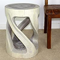 Round Wild Twisted Vine Wood End Table 14 D x 20 inch H w Livos Agate Grey Oil F