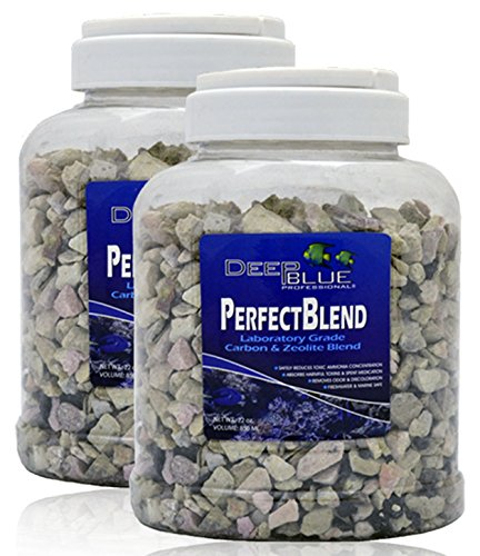 (Deep Blue 22 OZ 2 Pack (44 OZ Total) Perfect Blend Laboratory Grade Carbon and Ammonia Zeolite Blend with Media Bag)