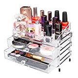 Yoler Acrylic Bathroom Countertop Makeup Organizer Stainless Frame Jewelry Storage Drawers (Small)