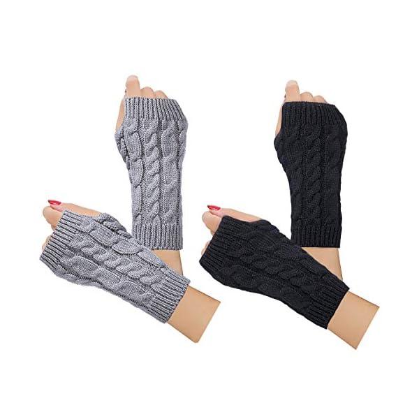 2-4 Pairs Women Winter Warm Knit Fingerless Gloves Hand Crochet Thumbhole Arm Warmers Mittens