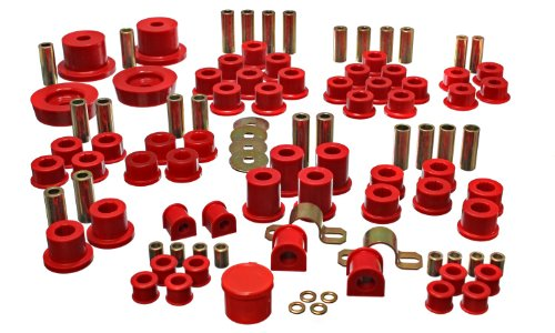 - Energy Suspension 11.18102R Hyper-Flex System Red Incl. Front And Rear Control Arm Bushing Rear Differential Bushing Set Front 19mm And Rear 12.5mm Sway Bar Frame Bushings Performance Polyurethane Hyper-Flex System
