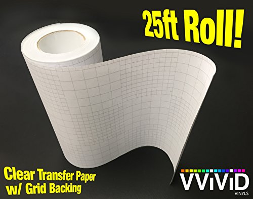 (VViViD High Gloss Clear Vinyl Transfer Paper Self-Adhesive Roll W/Grid Backing 12 Inches x 25 Feet 3Mil)