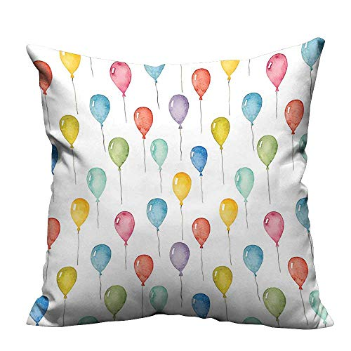 YouXianHome Zippered Pillow Covers Balloons Birthday Party Theme Celebration Festival Surprise Pattern Decorative Couch(Double-Sided Printing) 27.5x27.5 inch