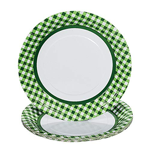 Fun Express - Green Gingham Dinner Plates (24pc) - Party Supplies - Print Tableware - Print Plates & Bowls - 24 Pieces