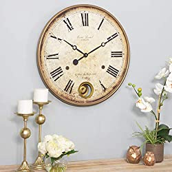 22 Brown Gold Classic Pendulum Wall Clock Roman Numeral Wall Cloch Paris France Themed Wall Decor Analog Clock for Living Room Bedroom Dining Area Vintage Rustic Stylish Expensive Look, Metal, Wood