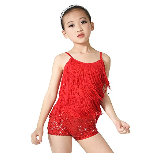 MiDee Girl's Dance Costume Outfits 2 Pieces Camisole Tassels Sequins Shorts (MC, (Tap Dance Costumes Children)