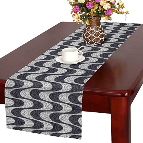 InterestPrint Streets of Rio De Janeiro Black and White Mosaic Wave Table Runner Linen & Cotton Cloth Placemat Home Decor for Kitchen Dining Wedding Party 16 x 72 Inches ()