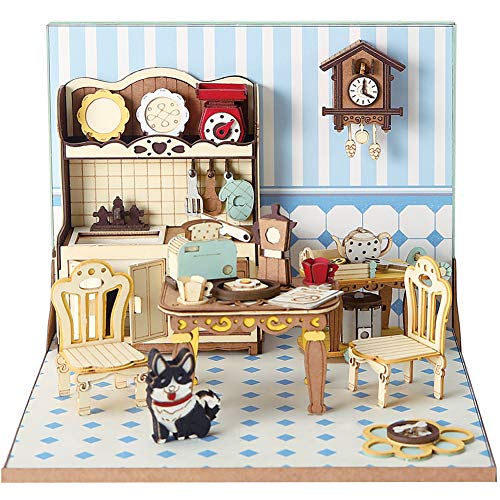 CubicFun Miniature DIY Dollhouse Craft Kits with Furniture for Girls and Women Gift, Kitchen Set