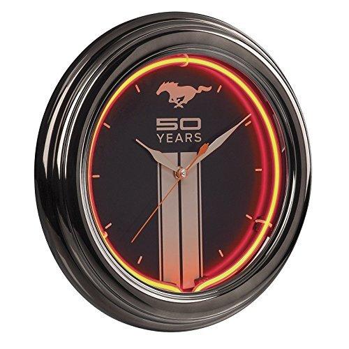 1964-2014 Mustang 50th Anniversary Black & Silver Clock - Orange Neon with Running Horse, Racing Stripe & 50 Years