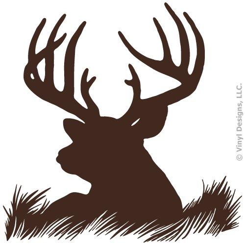 Deer Head Silhouette Buck Hunting Vinyl Wall Decal Sticker Art, Home Decor, Mural ()