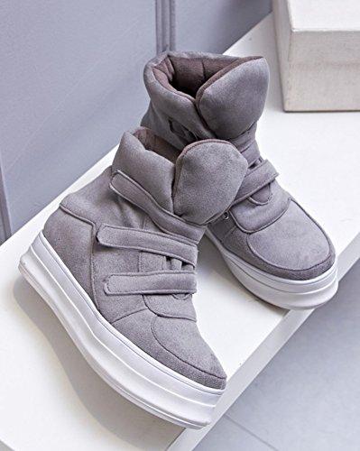 Aisun Donna Caldo Casual Punta Rotonda Velcro Piattaforma Elevatrice Sneakers Neve Stivaletti Stivaletti Scarpe Grigie