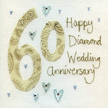 Auguri Anniversario Matrimonio 60 Anni.Biglietto Di Auguri Per Nozze Di Diamante 60 Motivo Cuori Con