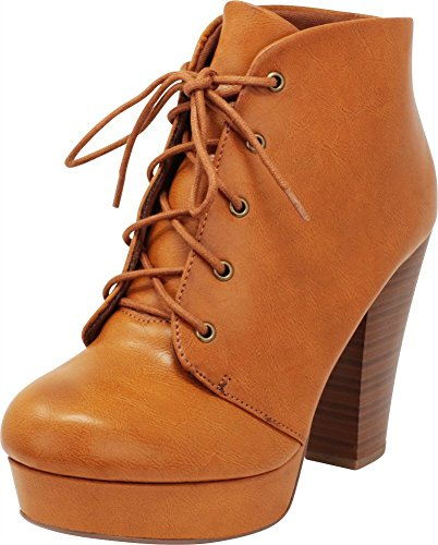 Cambridge Select Women's Lace-up Platform Chunky Stacked Heel Ankle Bootie,6.5 M US,Tan ()