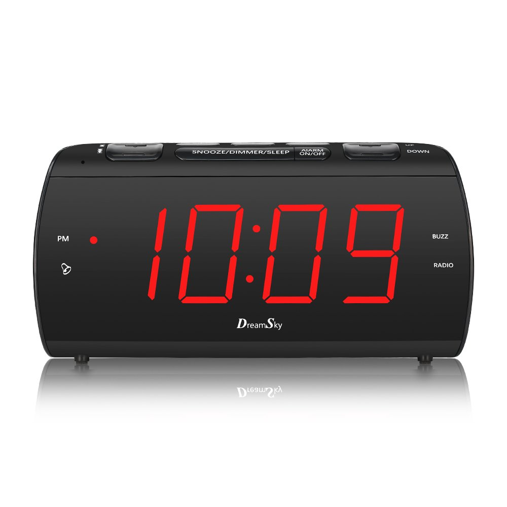 DreamSky Digital Alarm Clock Radio with USB Charging Port and FM Radios, Earphone Jack, Large 1.8'' LED Display with Dimmer, Snooze, Sleep Timer, Plug in Clock for Bedroom.