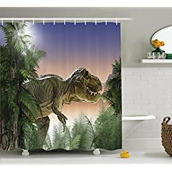 Ambesonne Dinosaur Shower Curtain Set, Jurassic Decor T-rex in The Jungle Trees Forest Nature Woods Scary Predator Violence Picture, Fabric Bathroom Decor with Hooks, Green Beige Blue